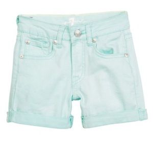 7 for all mankind roll cuff shorts in mint green